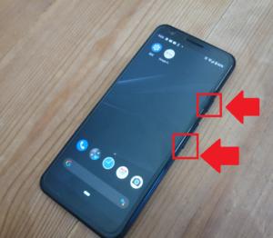 pixel3a「電源ボタンと音量ダウンボタン」