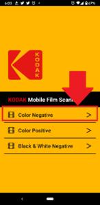 【KODAK Mobile Film Scanner】「Color Negative」を選択